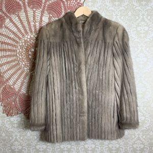 Jackets & Blazers - Vintage Cord Cut Blue Iris Mink Fur Jacket